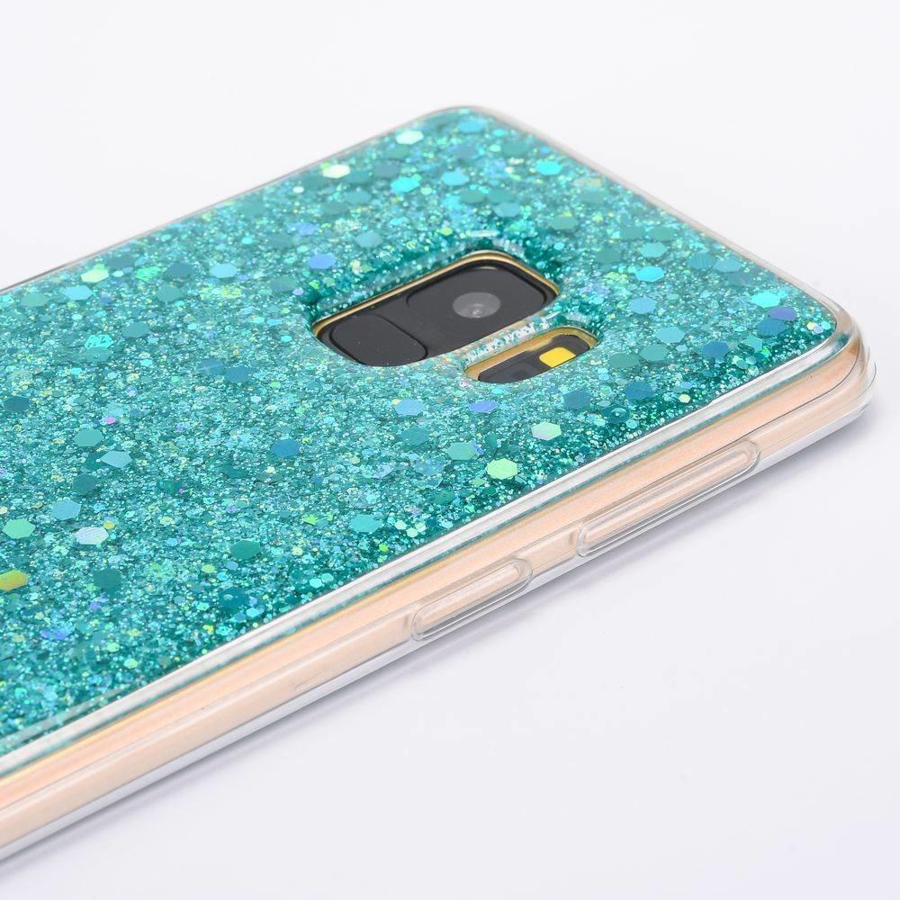 Hemelsblauwe glitter (sequin). samsung galaxy S9 flex hoesje