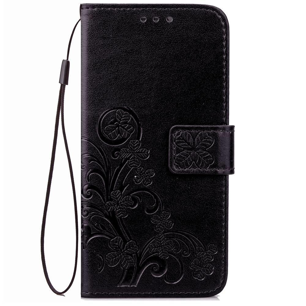 Zwarte met glimmertjes afgewerkt Samsung Galaxy S9 boekhoesje