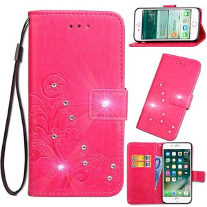 Roze met glimmertjes afgewerkt Samsung Galaxy S9 boekhoesje