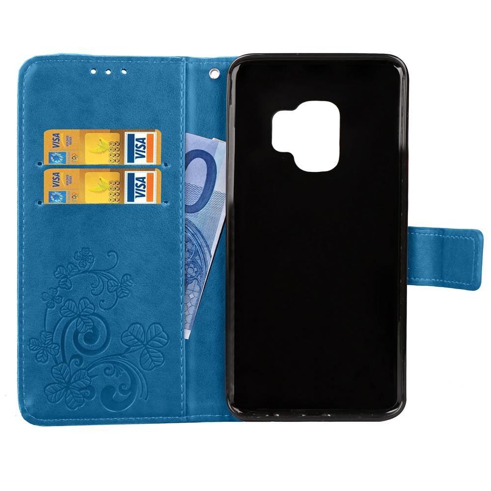 Blauwe met glimmertjes afgewerkt Samsung Galaxy S9 boekhoesje