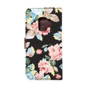 Jeans bloemetjes donker Samsung S9+(PLUS)  portemonnee hoesje