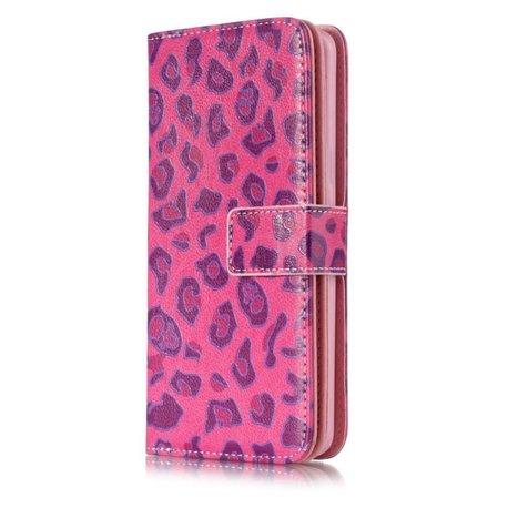 9 vaks roze luipaard skin S9 Portemonnee hoesje