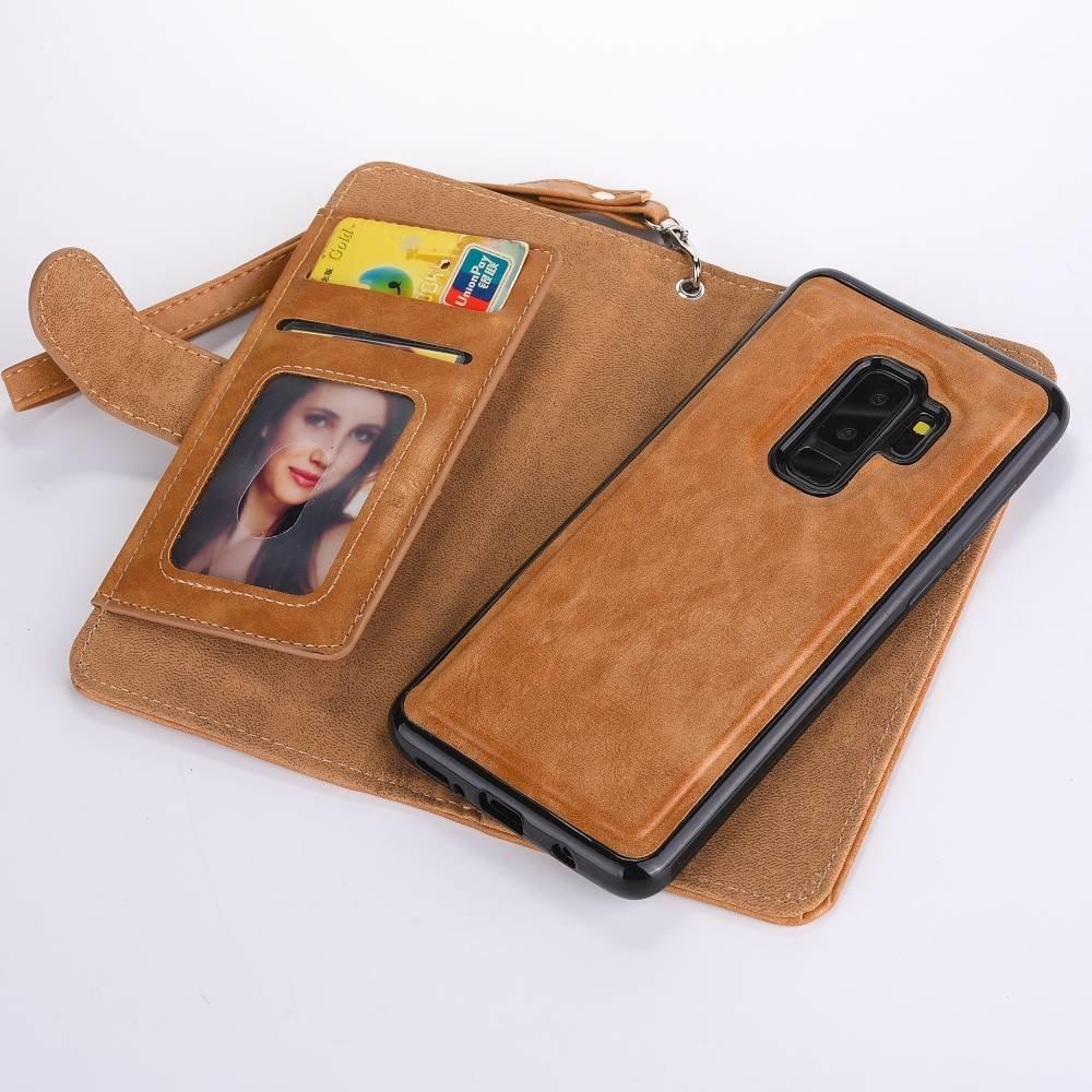 2 in 1 Samsung Galaxy 9 PLUS kunst leer portemonnee hoes met rits en veel ruimte