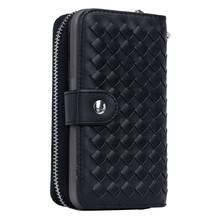 Zwart geweven portemonnee hoesje voor de Samsung S6