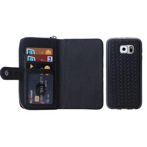 Zwart geweven portemonnee hoesje voor de Samsung Galaxy S6
