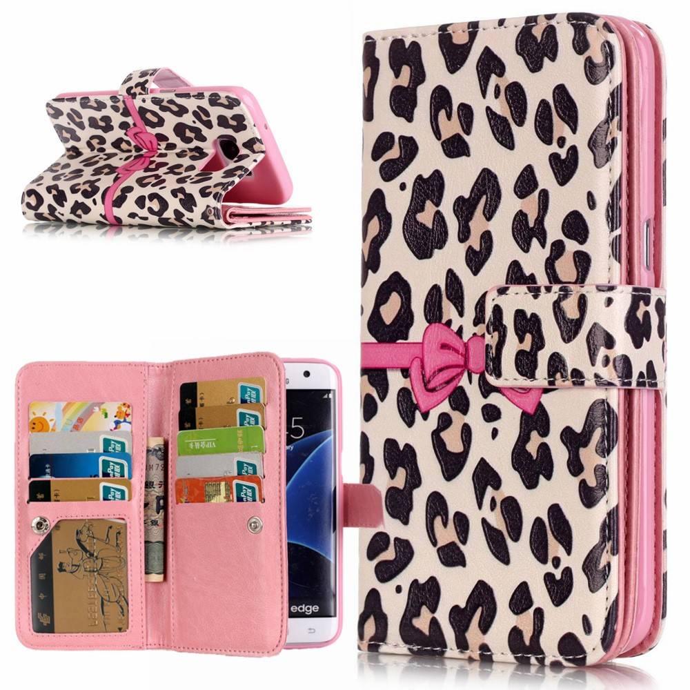 Afbeelding van 9 vaks Pink ribbon luipaard skin S9 PLUS Portemonnee hoesje