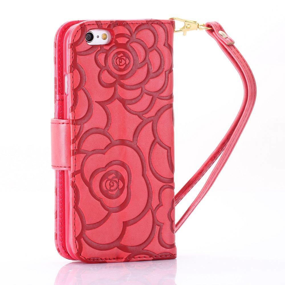 iPhone 6 Portemonnee hoesje voelbaar rozen patroon  in meerdere kleuren