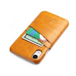 Fierre Shann Bruine harde met pu leer bekleed iPhone XR hoesje met ruimte voor 2 pasjes
