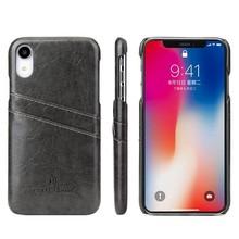 Fierre Shann Zwarte harde met pu leer bekleed iPhone XR hoesje met ruimte voor 2 pasjes
