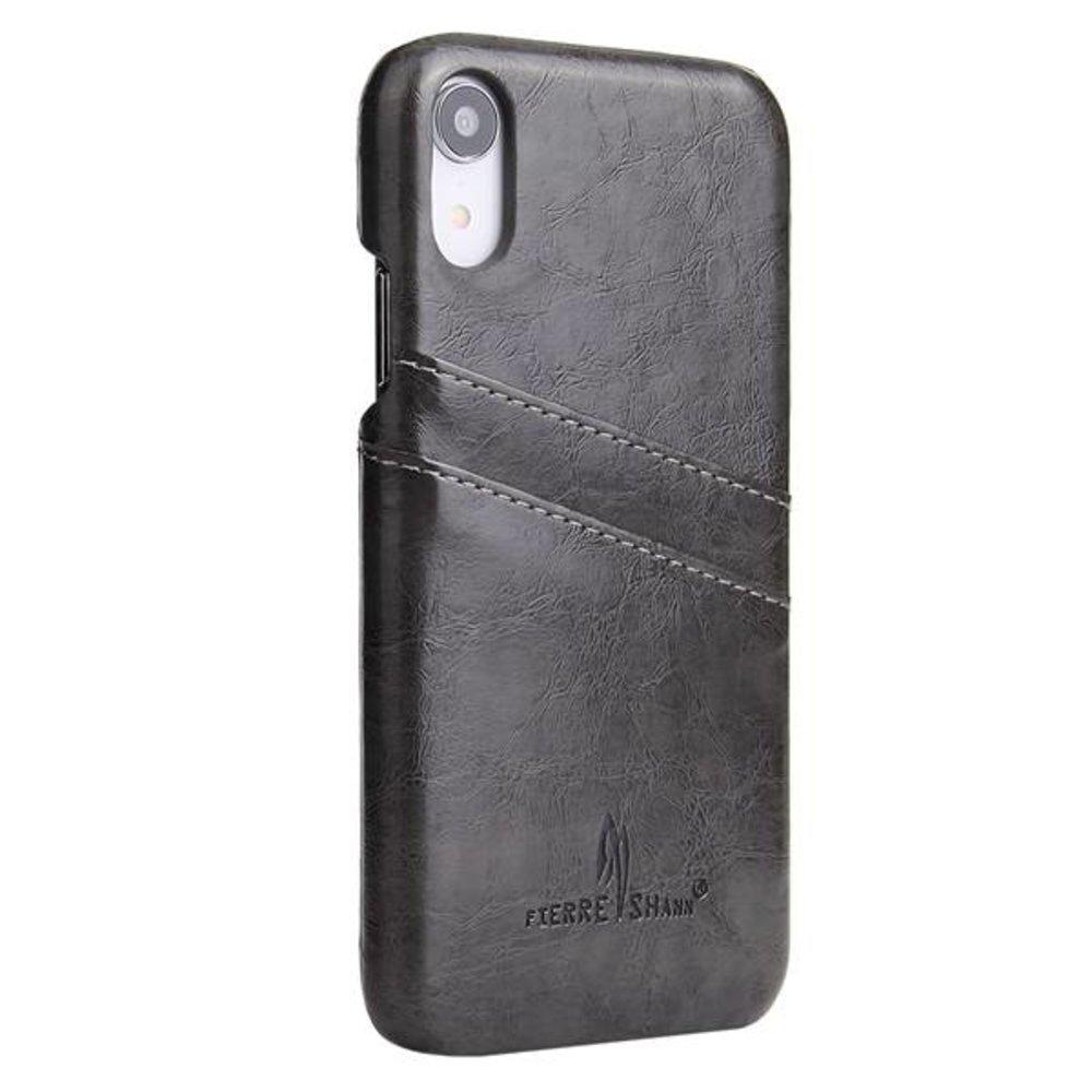 Fierre Shann Donker grijs harde met pu leer bekleed iPhone XR hoesje met ruimte voor 2 pasjes