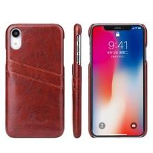 Fierre Shann Wijn rode harde met pu leer bekleed iPhone XR hoesje met ruimte voor 2 pasjes