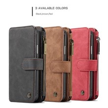 CaseMe 14 vaks 2 in 1 wallet Bruin hoesje iPhone XR echt Split leer