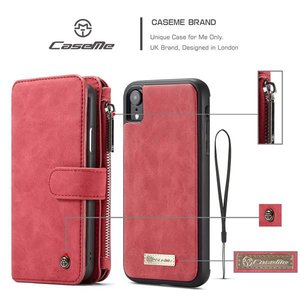 CaseMe 14 vaks 2 in 1 bruine wallet hoesje iPhone XR  echt Split leer