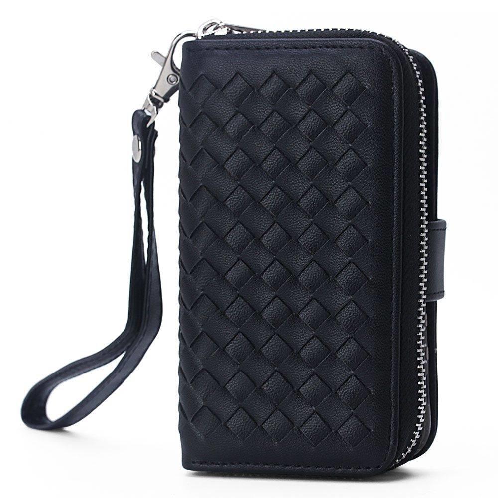 Zwart geweven portemonnee hoesje voor de iPhone SE