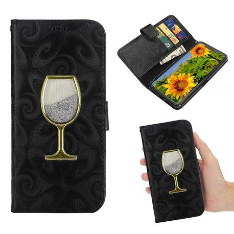 iPhone X en XS portemonnee hoesje  voorzien van met fijn zand gevuld wijnglas in diverse kleuren verkrijgbaar