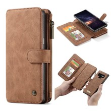 CaseMe Bruine 14 vaks 2 in 1 wallet hoesje Samsung Note 9 echt Split leer