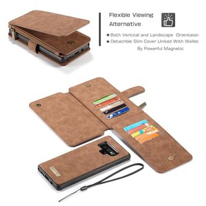 CaseMe Bruine 14 vaks 2 in 1 wallet hoesje Samsung Galaxy note 9 echt Split leer