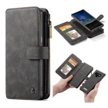CaseMe Zwarte 14 vaks 2 in 1 wallet hoesje Samsung Note 9 echt Split leer