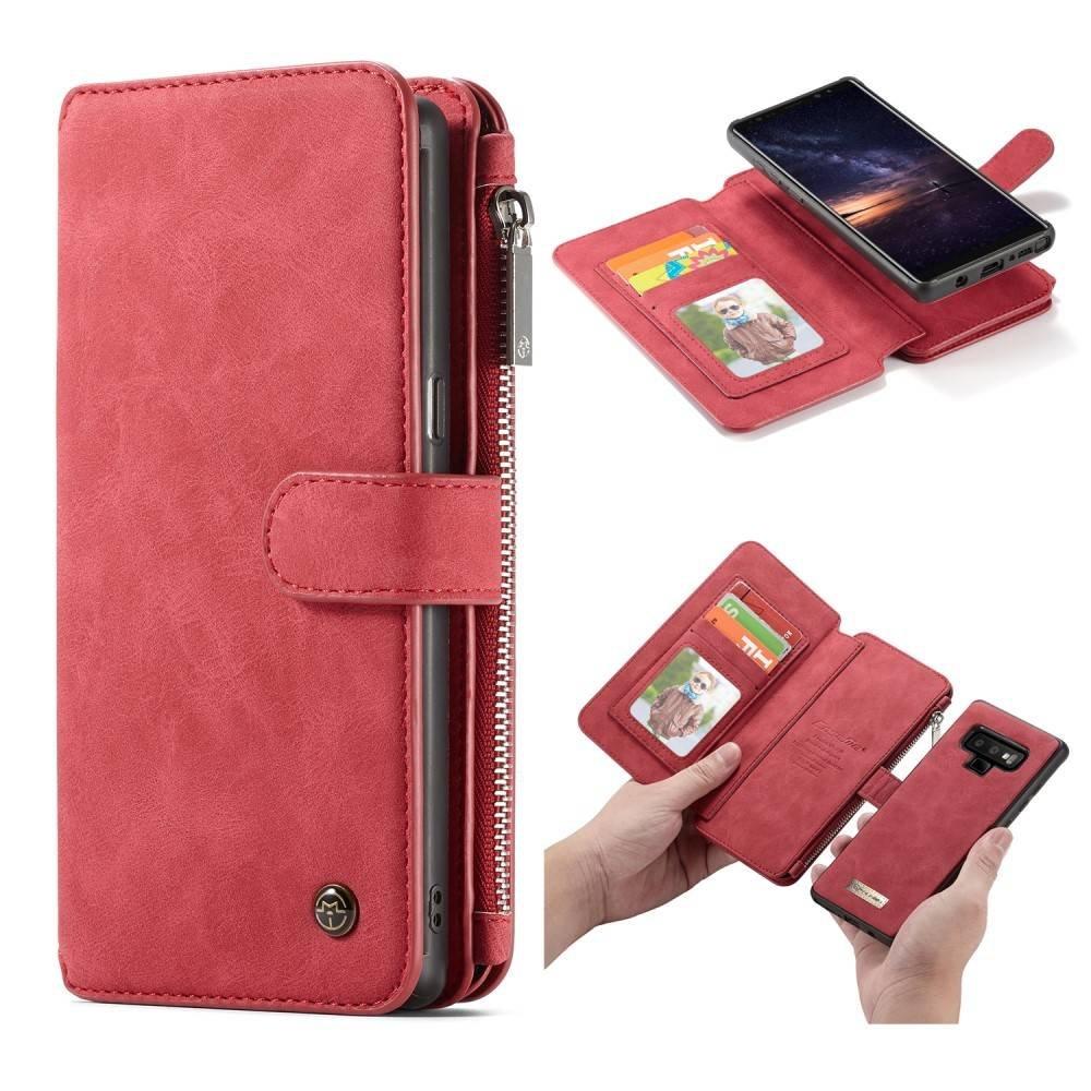 CaseMe Rood 14 vaks 2 in 1 wallet hoesje Samsung Galaxy note 9 echt Split leer