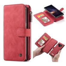 CaseMe Rood 14 vaks 2 in 1 wallet hoesje Samsung Note 9 echt Split leer