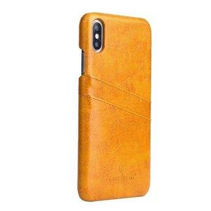 Fierre Shann Bruine harde met pu leer bekleed iPhone XS MAX hoesje met ruimte voor 2 pasjes