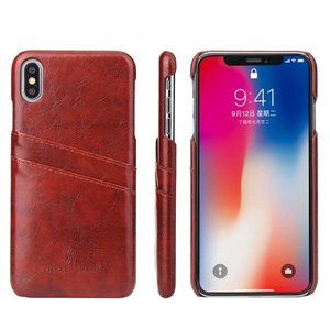 Fierre Shann Rood harde met pu leer bekleed iPhone XS MAX hoesje met ruimte voor 2 pasjes