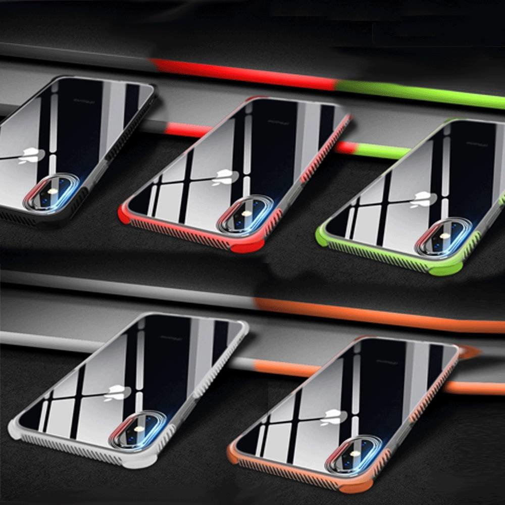 Transparant met dual color zijkant flexibel iPhone XR hoesje