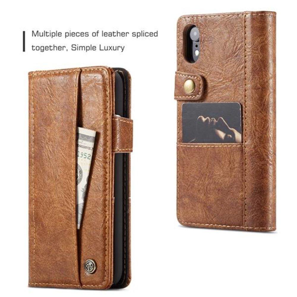 CaseMe Bruine wallet stijl hoesje met stand en ruimte voor pasjes en los magnetisch achterkantje voor iPhone XR