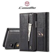 CaseMe Zwarte wallet stijl hoesje met stand en ruimte voor pasjes en los magnetisch achterkantje voor iPhone XR