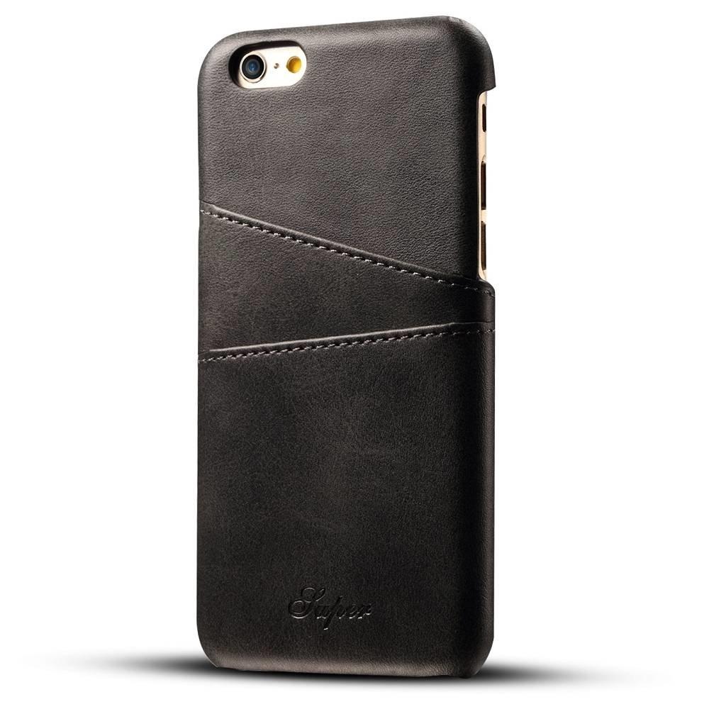Suteni Zwarte harde met pu leer bekleed iPhone 6 PLUS hoesje met ruimte voor 2 pasjes
