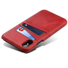 Suteni Rode harde met pu leer bekleed iPhone X met ruimte voor 2 pasjes