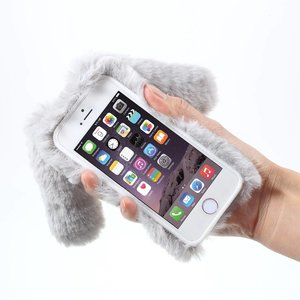 Als een Konijn gevormd pluizige met bont bekleed  TPU hoesje voor iPhone 6