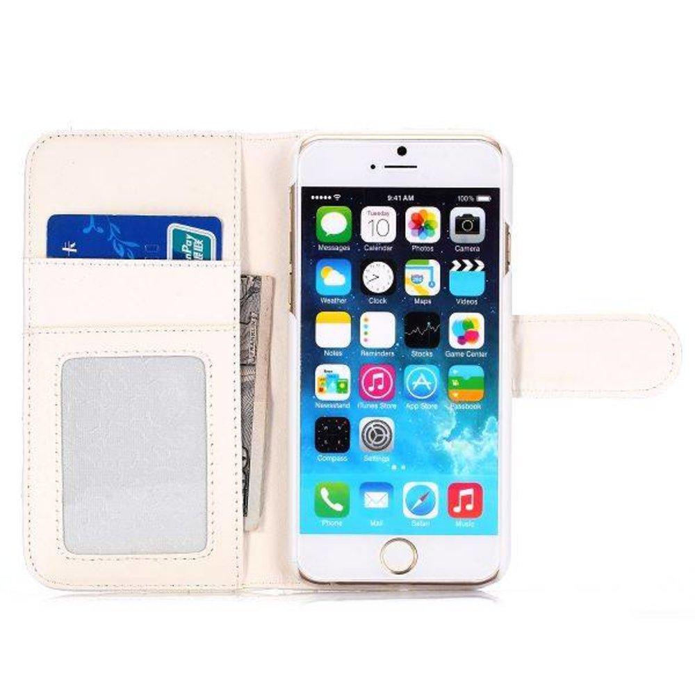 Witte hartjes gestikte iPhone 6 portemonnee hoes