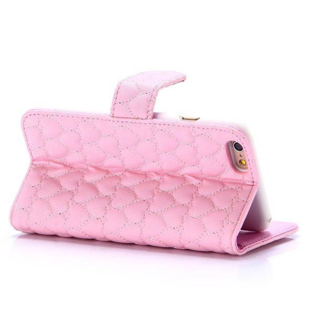 Roze hartjes gestikte iPhone 6 portemonnee hoes