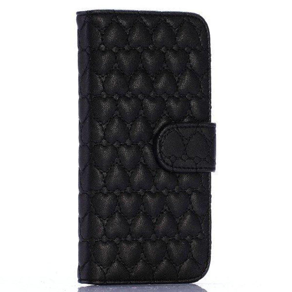 Zwarte hartjes gestikte iPhone 6 portemonnee hoes