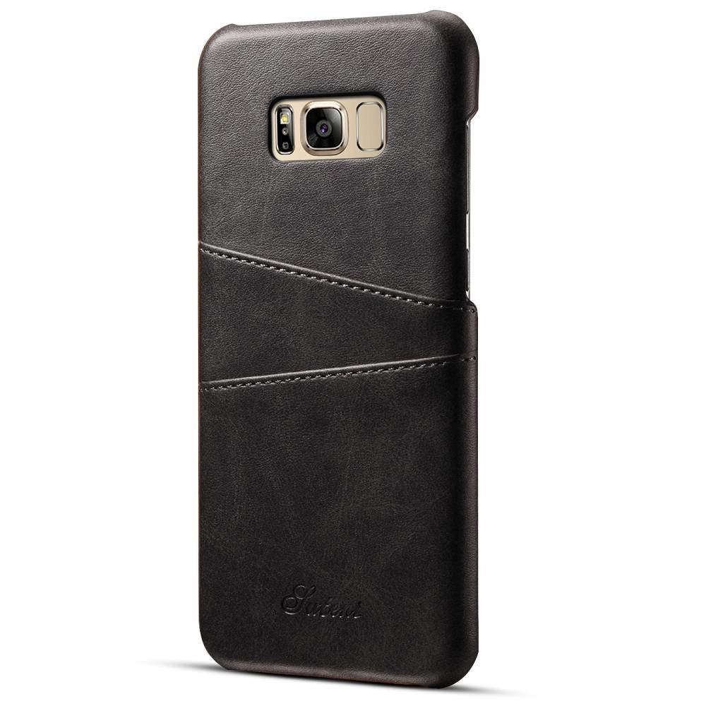 Suteni Zwarte harde met pu leer bekleed Galaxy S8  PLUS hoesje met ruimte voor 2 pasjes
