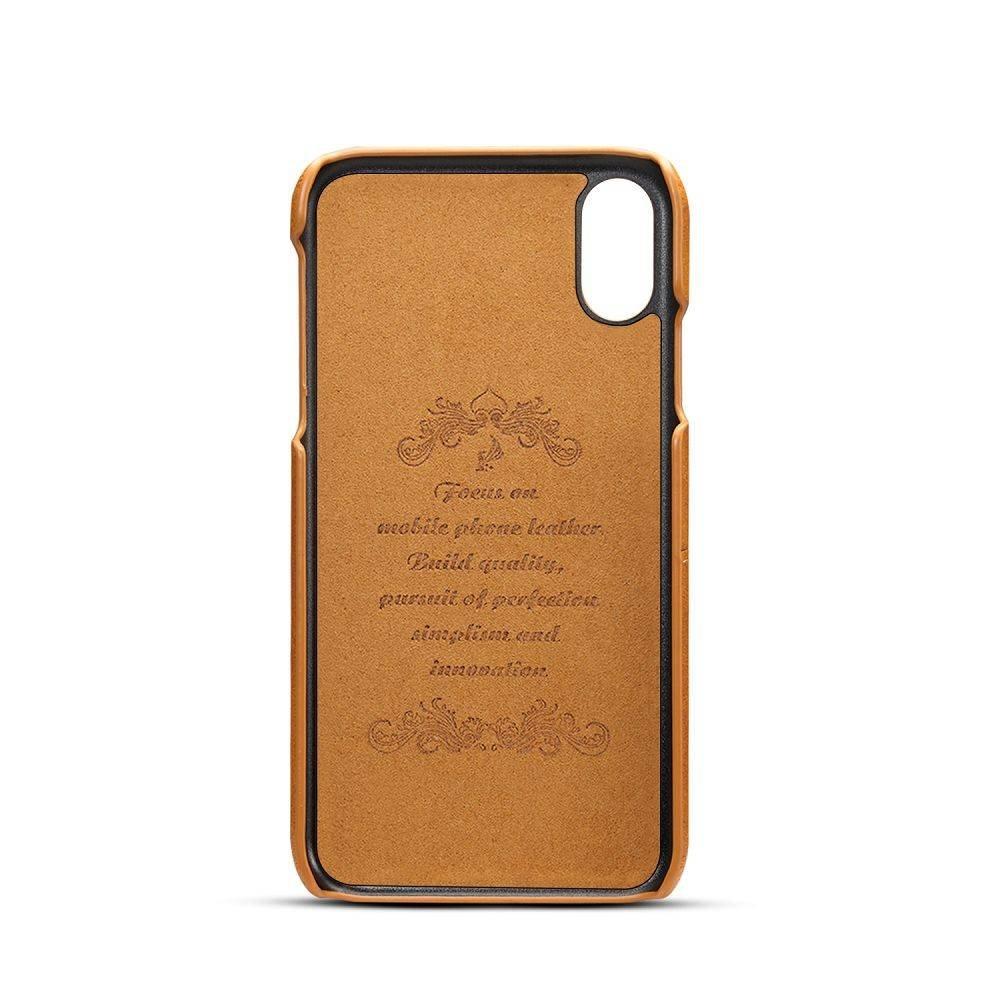 Suteni Bruine harde met pu leer bekleed iPhone XR  hoesje met ruimte voor 2 pasjes
