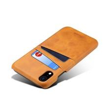 Suteni Bruine harde met pu leer bekleed iPhone XR met ruimte voor 2 pasjes