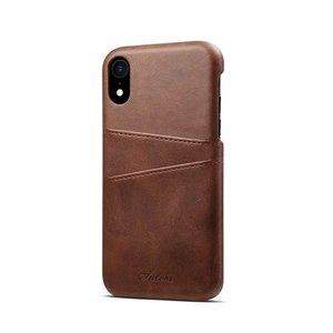 Suteni Donker bruine harde met pu leer bekleed iPhone XR  hoesje met ruimte voor 2 pasjes