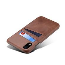 Suteni Donker bruine harde met pu leer bekleed iPhone XR met ruimte voor 2 pasjes
