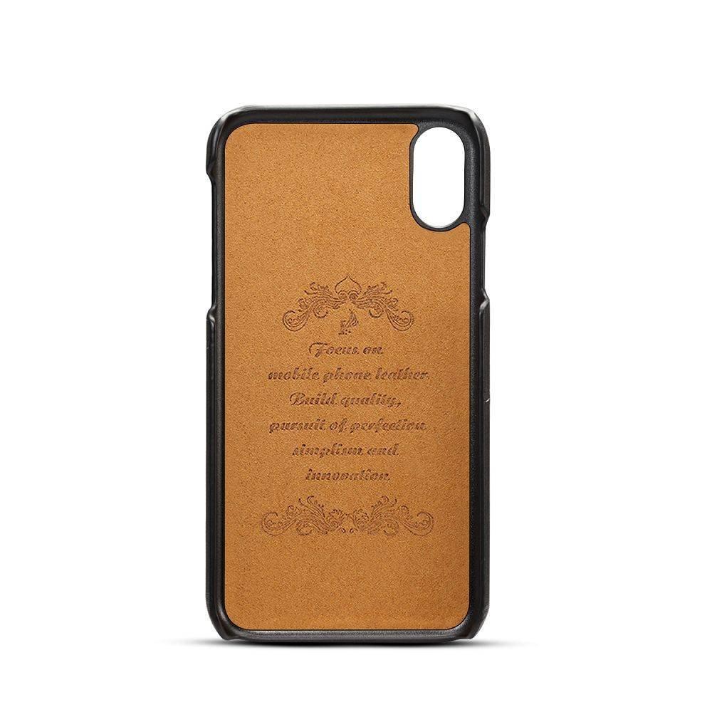 Suteni Zwarte bruine harde met pu leer bekleed iPhone XR  hoesje met ruimte voor 2 pasjes