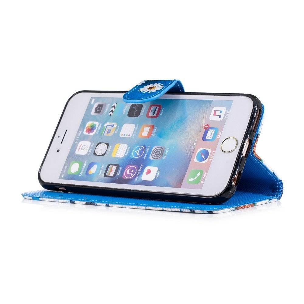 Hemels blauw met chrysanten iPhone 6  portemonnee hoes