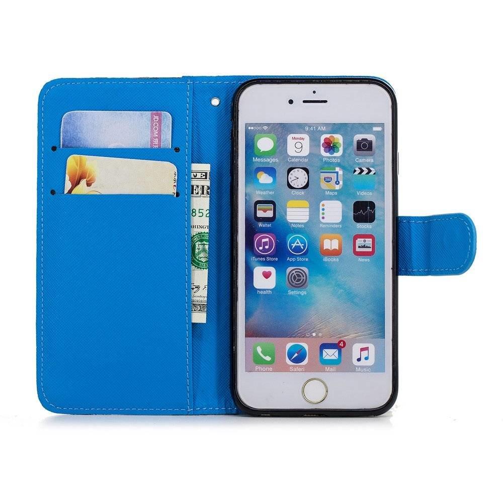 Hemels blauw met chrysanten iPhone 6+ (plus!)  portemonnee hoes