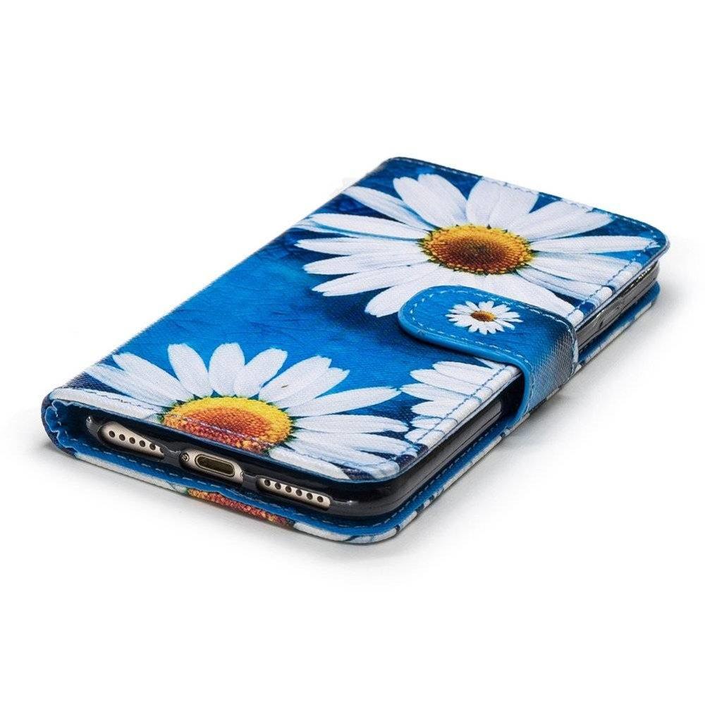 Hemels blauw met chrysanten iPhone 7, iPhone 8  portemonnee hoes