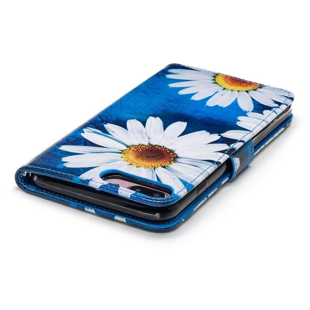 Hemels blauw met chrysanten iPhone 7+(plus), iPhone 8+(plus)  portemonnee hoes