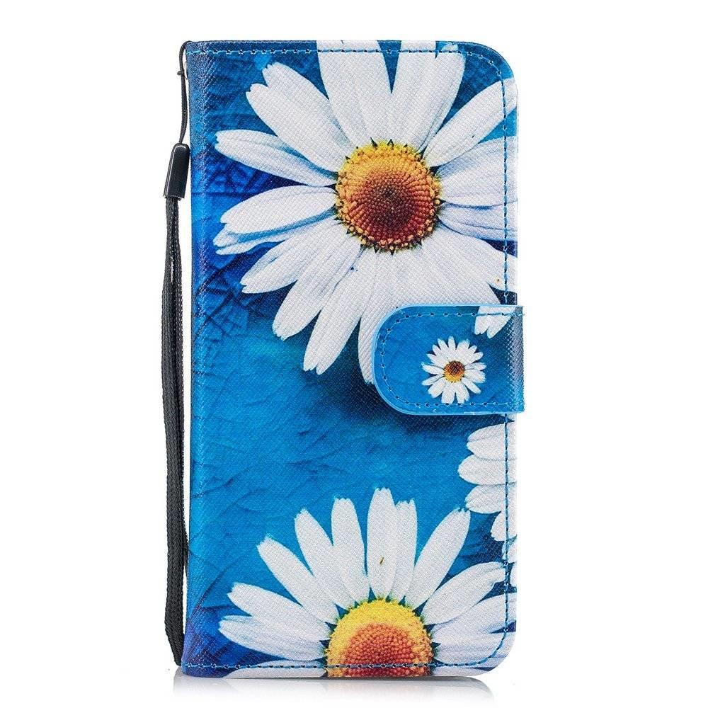 Hemels blauw met chrysanten iPhone X, Xs  portemonnee hoes