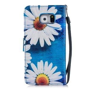 Hemels blauw met chrysantenSamsun Galaxy S6 portemonnee hoes