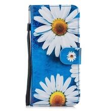 Hemels blauw met chrysanten Galaxy S8  portemonnee hoes