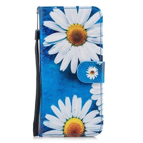 Hemels blauw met chrysantenSamsun Galaxy S8 portemonnee hoes