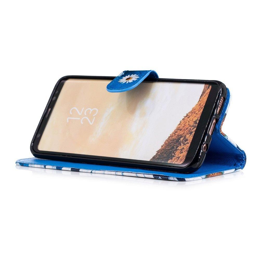 Hemels blauw met chrysantenSamsun Galaxy S8 PLUS portemonnee hoes